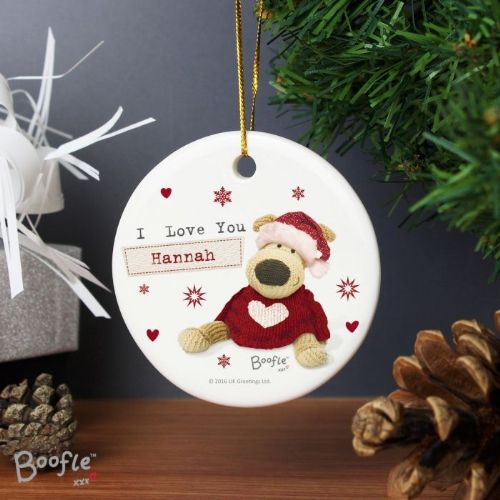 Personalised Boofle Christmas Love Round Ceramic Decoration